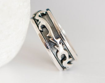 Personalised Oxidised Sterling Silver Tattoo Spinner Ring