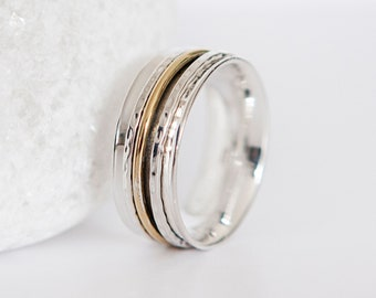 R | 8 5/8 | 59 Personalised Sterling Silver Spinner Ring with Three Mixed Metal Bands