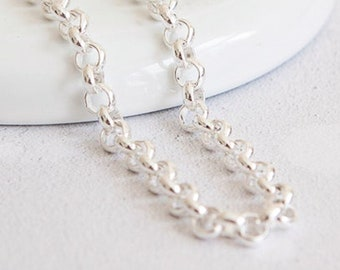 Sterling Silver Heavy Cable Chain Necklace - 20 24 28 Inch