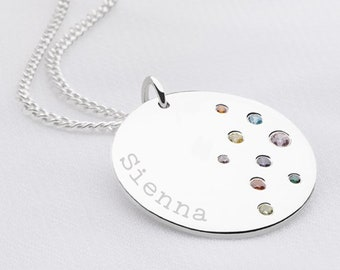 Personalised Rainbow Sparkle Sterling Silver Name Coin Disc Pendant Necklace
