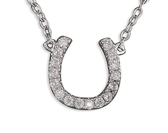 Sterling Silver Lucky Horseshoe Necklace with Cubic Zirconia