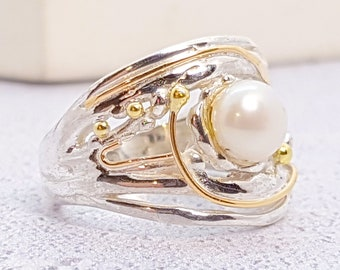Personalized Sterling Silver Ring with White Freshwater Pearl Gemstone in a Statement Band