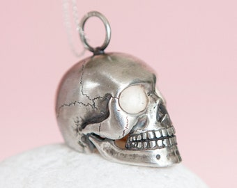 Personalised Oxidised Sterling Silver Anatomical Human Skull Pendant Necklace