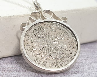 Personalised Sixpence Necklace * Sterling Silver * Lucky Pendant * English Coin * Bridal Wedding Jewelry * Personalised Birthday Gift *