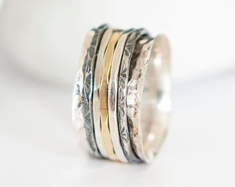 Personalised Oxidised Sterling Silver Mixed Metal Spinner Ring