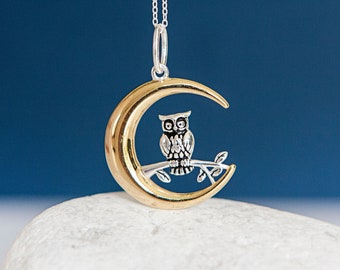 Sterling Silver Owl Inside a Gold Crescent Moon Pendant Necklace