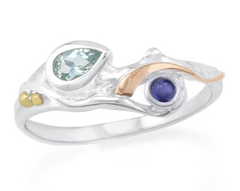 Personalised Blue Topaz and Iolite Sterling Silver Organic Ring