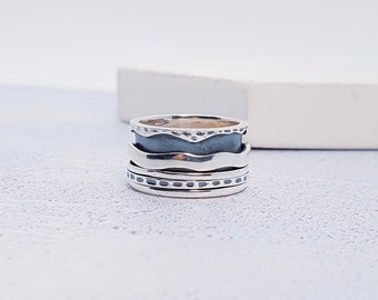 Sterling Silver Spinner Ring with Mixed Texture Silver Bands