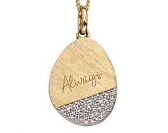 Personalised 9ct Yellow Gold and Genuine Diamond Coin Disc Pendant Necklace