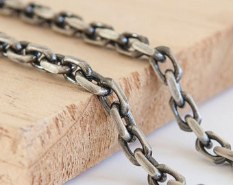 5mm Oxidised Marine Bracelet Chain * 8 inches * Sterling Silver