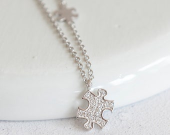 Personalised Autism Necklace * Sterling Silver * Autism Awareness * Puzzle Necklace * Dainty Necklace * Autism Jewelry * Autism * Jigsaw *