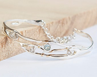 Personalised Blue Topaz and Cubic Zirconia Bangle Bracelet * Sterling Silver * Rustic Organic Jewelry * Unique Womens Wedding Jewelry *