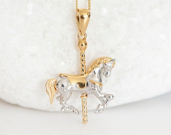 Personalised Gold Moving Carousel Fairground Horse Pendant Necklace