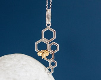 Personalised Gold Honey Bee on Sterling Silver Honeycomb Pendant Necklace