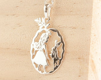 Personalised Alice in Wonderland Necklace * Sterling Silver * Fairy Tales * Alice in Wonderland * White Rabbit * Alice and the Rabbit *
