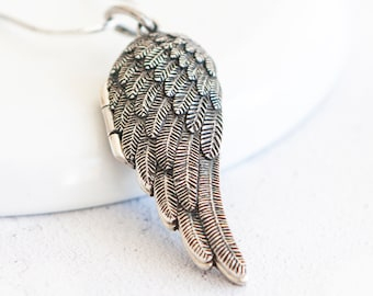 Personalised Angel Wing Locket * Sterling Silver * Angel Jewelry * Angel Locket * Hair Locket * Mourning Jewelry * Personalised Gift * Angel