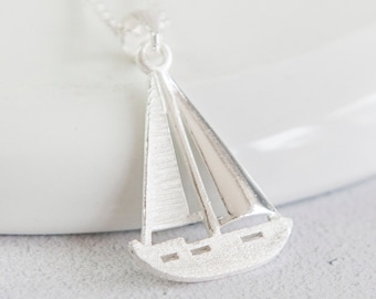 Sterling Silver Sailing Boat Pendant Necklace