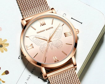 Personalised Rose Gold Butterfly Watch with Rose Gold Dial