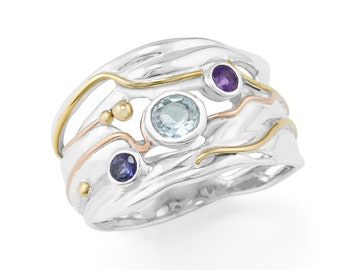 Personalised Blue Topaz Amethyst and Iolite Sterling Silver Wide Organic Ring
