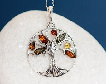 Personalised Oxidised Sterling Silver and Mixed Amber Tree of Life Pendant Necklace