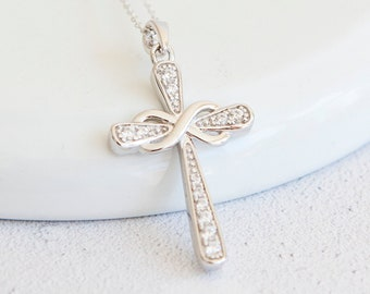 Sterling Silver Infinity Cross Pendant Necklace with Cubic Zirconia