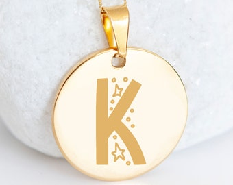 Personalised 9ct Yellow Gold Initial 'K' Alphabet Pendant Necklace