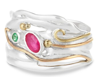 Pink Ruby and Green Emerald Ring * Sterling Silver * Rustic Organic Jewelry * Unique Womens Engagement Ring * Promise Ring