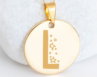Personalised 9ct Yellow Gold Initial 'L' Alphabet Pendant Necklace