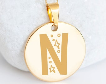 Personalised 9ct Yellow Gold Initial 'N' Alphabet Pendant Necklace