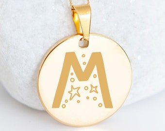 Personalised 9ct Yellow Gold Initial 'M' Alphabet Pendant Necklace
