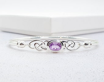 Sterling Silver Celtic Knot Bangle Bracelet with Faceted Amethyst