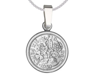 Personalised Sterling Silver Lucky Sixpence Pendant Necklace