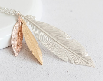 Personalised Sterling Silver and Mixed Gold Feather Pendant Necklace