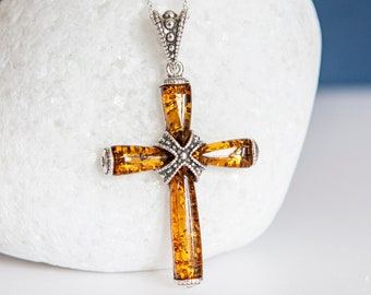 Personalised Sterling Silver and Amber Cross Pendant Necklace