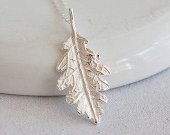 Sterling Silver Textured Oak Leaf Pendant Necklace