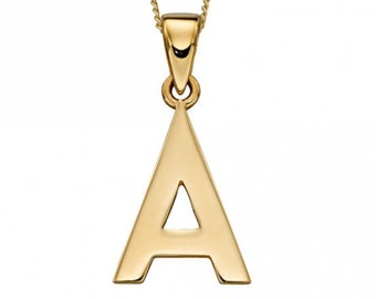 Personalised 9ct Yellow Gold Initial 'A' Alphabet Pendant Necklace