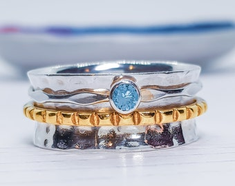US 8.5 | UK Q | EU 58 Personalized Sterling Silver Spinner Ring for Women * Wide Band * Custom Thumb Ring * Sky Blue Topaz Gemstone *