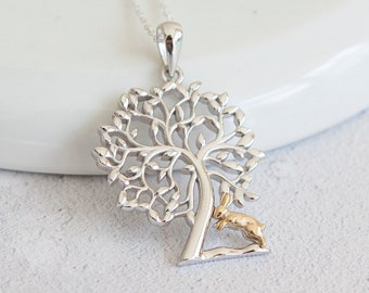 Sterling Silver Tree Pendant Necklace with 18ct Yellow Gold Rabbit