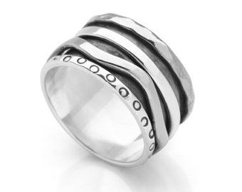 Personalized Sterling Silver Spinner Ring for Women or Men * Wide Band * Custom Thumb Ring * Irregular Wave Design *