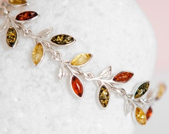 Personalised Sterling Silver and Mixed Amber Leaf Bracelet