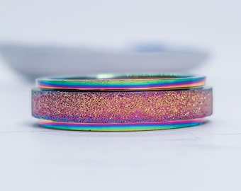 Personalized Stainless Steel Spinner Ring for Men or Women * Anodised Pride Rainbow Steel Finish *