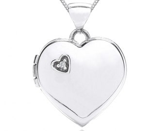 Personalised 9ct White Gold Genuine Diamond White Gold Heart Locket Pendant Necklace