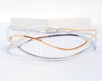 Sterling Silver and 18ct Rose Gold Twisted Wire Wrap Bangle Bracelet