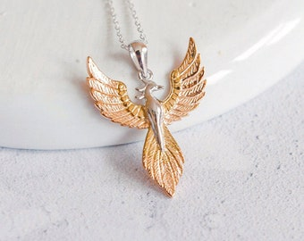 Personalised Sterling Silver and Gold Phoenix Pendant Necklace