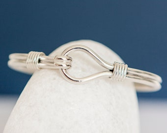 Personalised Sterling Silver Heavy Rope Hook and Loop Bangle Bracelet