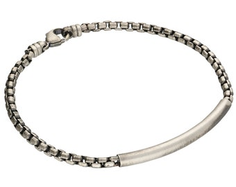 Oxidised Sterling Silver Box Chain Bracelet with Tubing