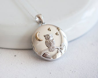 Teagan * Owl Locket Necklace * Sterling Silver * Remembrance Jewelry * Picture Locket Gift * Working Locket * Hair Locket Pendant * Family