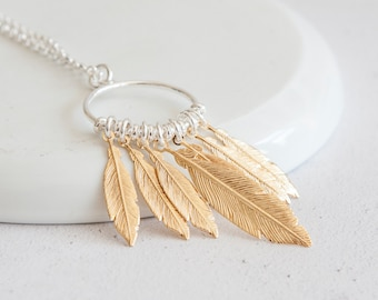 Personalised Dreamcatcher Necklace * Sterling Silver * Feather Jewelry * Mixed Metal Feathers * Feather Gift * Boho Pendant * Gold Feathers