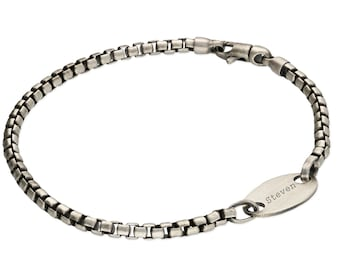 Personalised Oxidised Sterling Silver Box Chain Offset Oval ID Bracelet
