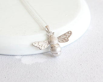 Ebba * Bee Necklace * Sterling Silver * Bumble Bee Gift * Worker Bee Jewelry * Honey Bee * Manchester Bee * Bee Pendant * Queen Bee Insect